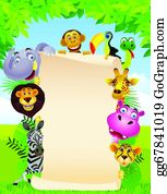 Cute-Animal-Cartoon-In-The-Jungle - Animal And Blank Sign