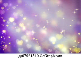 Golden-Love-Hearts - Small Hearts On Purple Background