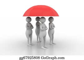 Umbrella - 3d People Under A Red Umbrella, Tea