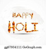 Holi-Festival-Celebration - Stylish Beautiful Holi Text Colorful Festival Design Vector