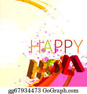 Holi-Festival-Celebration - Abstract Gulal Background Of Holi Text Festival Wave Background Vector