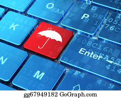 Umbrella - Security Concept: Umbrella On Computer Keyboard Background