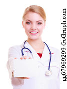 Health-Insurance-Card - Woman In Lab Coat. Doctor Or Nurse With Blank Card Isolated