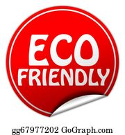 Eco-Friendly-Label - Eco Friendly Round Red Sticker On White Background