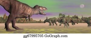 Horned-Lizard - Tyrannosaurus Attacking Styracosaurus - 3d Render