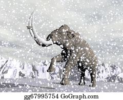 Ice-Age - Mammoth In Winter - 3d Render