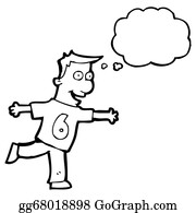Funny-Bubble-Cartoon-Numbers - Cartoon Man In Shirt Number Six