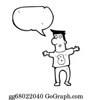 Funny-Bubble-Cartoon-Numbers - Cartoon Man In Numbered Sports Shirt