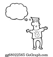 Funny-Bubble-Cartoon-Numbers - Cartoon Man In Shirt With Number Eight