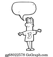 Funny-Bubble-Cartoon-Numbers - Cartoon Man In Shirt With Number 3