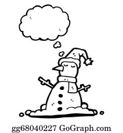 Melting-Snowman - Snowman With Thought Bubble Cartoon