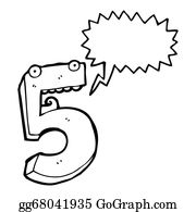 Funny-Bubble-Cartoon-Numbers - Cartoon Number Five