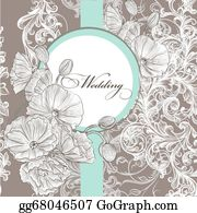 Vintage-Floral-Blue-Frame-Vector - Wedding Invitation Card In Pastel Color