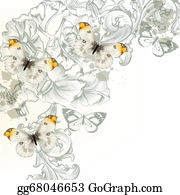 Classic-Victorian-Pattern - Grunge Vector Background With  Flowers And Butterflies  For Desi