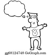 Funny-Bubble-Cartoon-Numbers - Cartoon Man With Thought Bubble Wearing Numbered Shirt