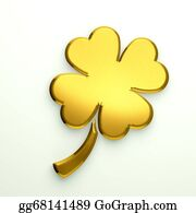 Golden-Love-Hearts - 3d Illustration Golden Clover With
