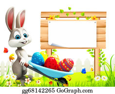 Trolley - Easter Bunny With Sign