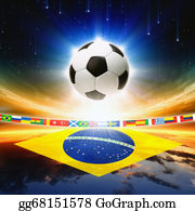 Football-Abstract - Soccer Ball With Brazil Flag