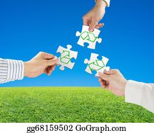 Recycle-Technology - Hands Hold Puzzles With Recycle Symbol And Beautiful Landscape Green Meadow, Clear Blue Sky Background