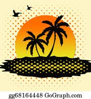 A-Palm-Tree-Sign-In-Yellow-And-Black - Tropical Sunset