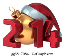 Calendar-For-January-2014 - Happy New Year 2014 Santa Hat
