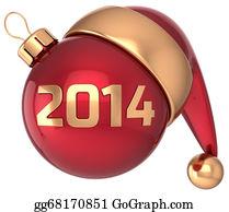Calendar-For-January-2014 - Christmas Ball 2014 New Year Bauble