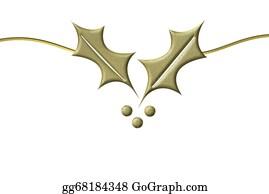 Christmas-Gold - Christmas Card Golden Holly
