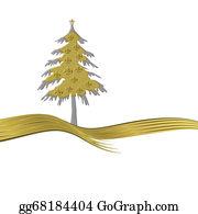 Fleur-De-Lys - Elegant  Gold Tree Ornate With Golden Fleur-De-Lisl Isolated