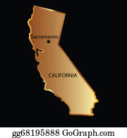 Sequoia - Gold California State Map