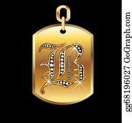 Diamond-Alphabet-Vector-Illustration - B Medal In Gold And Diamonds Vector