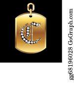 Diamond-Alphabet-Vector-Illustration - C Medal In Gold And Diamonds Vector