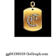 Diamond-Alphabet-Vector-Illustration - E Medal In Gold And Diamonds Vector