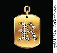 Diamond-Alphabet-Vector-Illustration - R Medal In Gold And Diamonds Vector
