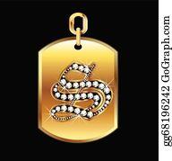 Diamond-Alphabet-Vector-Illustration - S Medal In Gold And Diamonds Vector