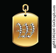 Diamond-Alphabet-Vector-Illustration - W Medal In Gold And Diamonds Vector