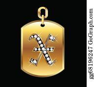 Diamond-Alphabet-Vector-Illustration - X Medal In Gold And Diamonds Vector