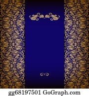 Vintage-Floral-Blue-Frame-Vector - Elegant Background With Lace Ornament