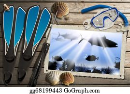 Seashell - Spearfishing Photo Frame With Sea Abyss