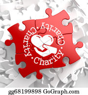 Fundraiser - Charity Concept On Red Puzzle.