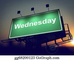Weekday - Wednesday - Billboard On The Sunrise Background.