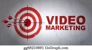 Wall-Background - Business Concept: Target And Video Marketing On Wall Background