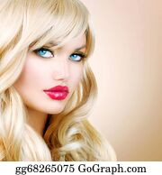Wig - Blonde Woman Portrait. Beautiful Blond Girl With Long Wavy Hair