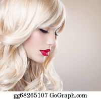 Wig - Beautiful Blond Girl With Healthy Long Wavy Hair. White Hair