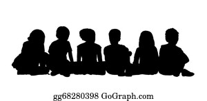 Street-Race - Medium Group Of Children Seated Silhouette 2