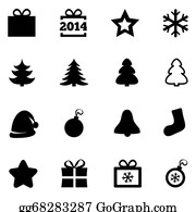 2014-Happy-New-Year-Box - Christmas Black Flat Icons. New Year 2014 Icons.