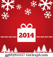 2014-Happy-New-Year-Box - New Year Greetings Card With Flat Icons, 2014