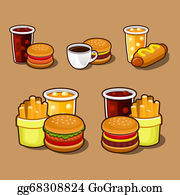 Dinner-Icons - Set Of Colorful Cartoon Fast Food Icons.
