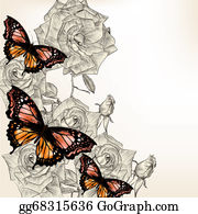 Classic-Victorian-Pattern - Floral Design With Hand Drawn Roses And Butterflies