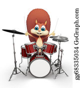 Drum-Set - Squirrel With Drum Set