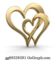 Golden-Love-Hearts - Two Bound Gold Hearts